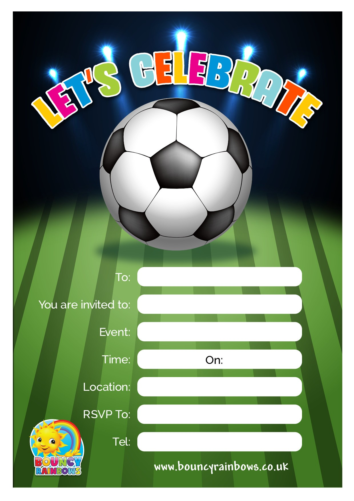 Football Invitations - Bouncy Castle & Soft Play Hire in ...